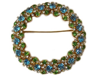 1950s Brilliant Sky Blue Peridot and White Rhinestone Crystal Oversized Circle Wreath Vintage Pin Brooch