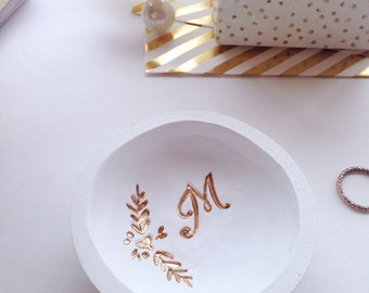 Mini Initial Floral Ring Dish/Initial Ring Dish
