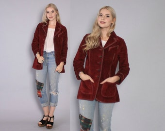 Vintage 70s Leather JACKET / 1970s Burgundy Wine Suede Fitted Boho Coat XS - S
