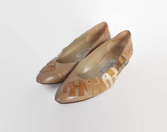 Vintage 80s Elephant FLATS / 1980s Brown Leather Novelty Slip Ons 7 1/2 38