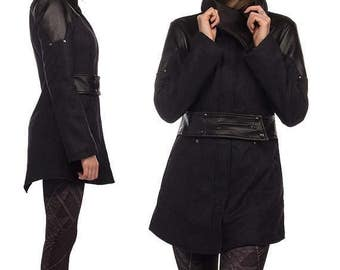 on sale SALE Phoenix, highly tailored avantgarde winter coat with asymmetrical neckline by Plastik wrap.