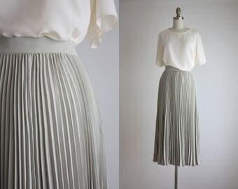 sage pleated maxi skirt