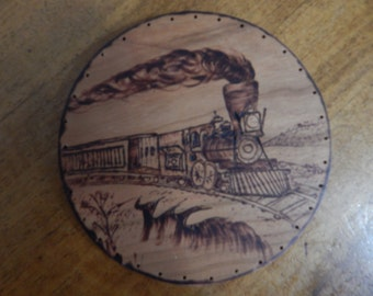 Wood Burnt Image of a Train Basket Bottom or Other Craft projects.