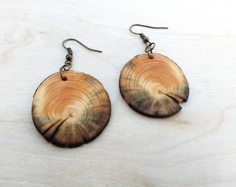 Spalted Pine Wood Earrings, Salvaged Tree Slice Earrings, Rustic Dangle Earrings