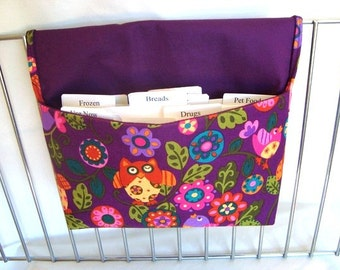 Coupon Organizer /Budget Organizer Holder- Attaches to Your Shopping Cart OWLS- PRETTY PLUM