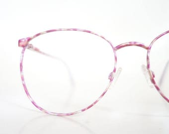 ON SALE Vintage 1980s Enameled Colorful Pink Yellow Eyeglasses Womens Glasses 80s Eighties Round P3 Deadstock Nos New Old Stock Enamel Brigh