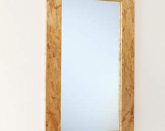 Hanging Wood Mirror with Modern Industrial OSB Frame, 22 x 40, Custom Sizes Available