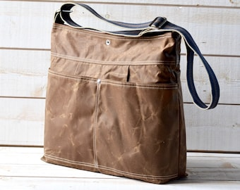 Waxed Canvas bag, Briefcase, Messenger bag, Brown Tote, Cross body strap, Travel bag, striped strap, nautical