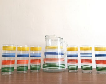 So Stripey! Vintage Pitcher & Six Glasses - Mid Century Modern - Yellow Blue Orange Green - Great Hostess Gift or Party Set - Indiana Glass