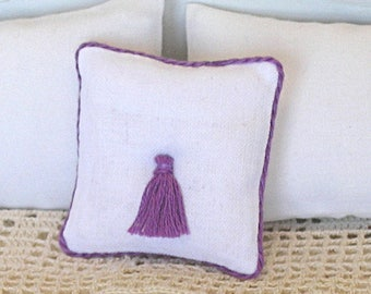 1:12 Pillow - Purple + Tassel - Handmade Dollhouse Scale Miniature - Shabby Cottage **Free Shipping**
