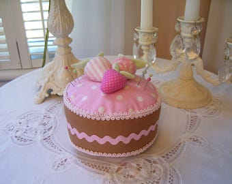 Darling Cake Pin Cushion...Strawberry Shortcake...Yummy....Pins Included...Pink...Sooo Cute