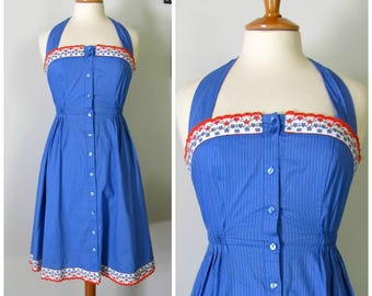 Vintage summer sun dress sky blue