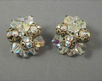 Vintage Aurora Crystal Filigree Clip Earrings