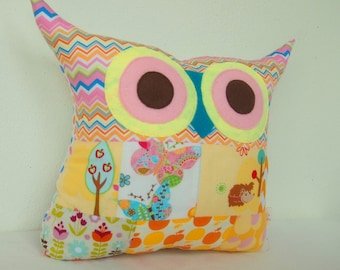 Patchwork owl pillow/ Aqua /pink/orange/polyfil Stuffed  owl pillow/decoration (Large size)Ready to ship /express shipping