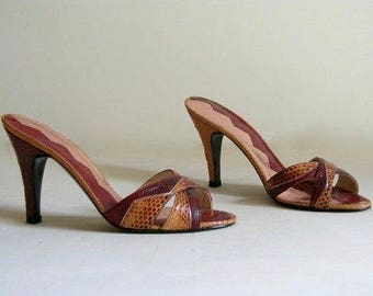 Vintage Modigliani Red and Orange Snakeskin Heels or Slides