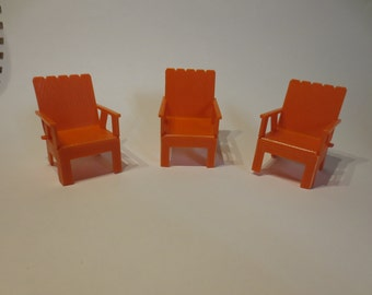 Doll house- Vintage  Orange  deck chairs Mattel 1968