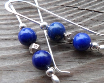Smooth Rich Lapis Fine Silver Dangle Handmade Earrings