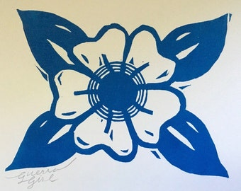 Old School Tattoo Flower Woodcut Print 5 x 7in.