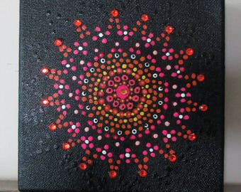 Colorful, Cheerful Mandala, Pointillism, Dots, Acrylic Painting on 6x6 canvas