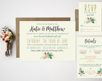 Wedding Invitation Bundle  Cute Floral Invite  RSVP  Thank You Card  Casual Wedding Invitation  Fun Wedding Invitation  Whimsy