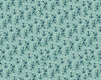 Riley Blake Fabric By the Sea Collection Anchors in Teal,  choose your cut