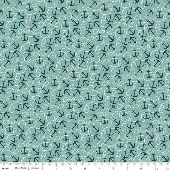 Riley Blake Fabric By The Sea Collection Anchors In Teal