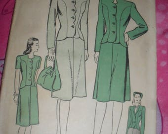 Vintage Advance Sewing pattern - Suit Jacket & Skirt - 1940s - #3989