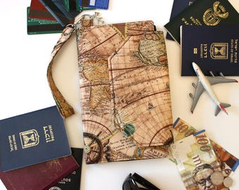 Family Passport Holder - Family Travel Wallet - World Map Travel Organizer - map print Passport Case  Passport Cover - large passport wallet