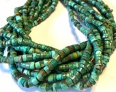REAL TURQUOISE small heishi full 15 inch long strand great color great deal