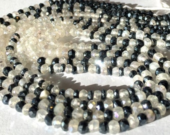 Spinel and moonstone mystic coated Microfaceted rondelles WHOLE STRAND