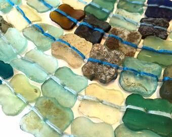 Ancient roman glass beads whole strand clover shape