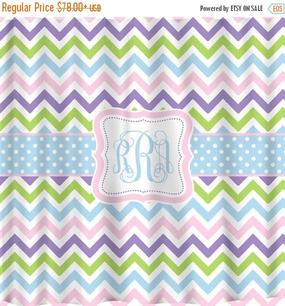 12 Days Christmas SALE Custom Personalized Pastel Shower Curtain - Shown Multi Chevron, Mod Dots and Stripes, and Dot and Stripes