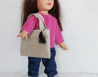 "18"" Doll Clothes, 4 piece dolls wardrobe, pink polka dot doll shirt, 18 inch doll fashion set, dolls handbag, dolls jeans, doll boots"