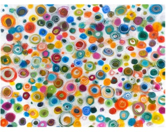 Original Abstract Circle Painting, Colorful Wall Art, Acrylic 18x24 Canvas, Rainbow Colors - Positive Vibrations by Jessica Torrant