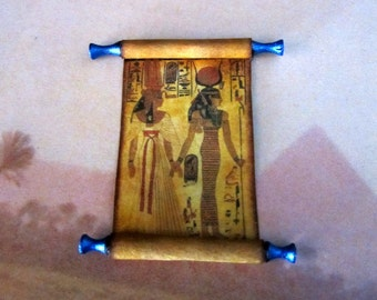 Egyptian Scroll dollhouse miniature, pyramid, King Tut, egypt, museum in 1/12 scale