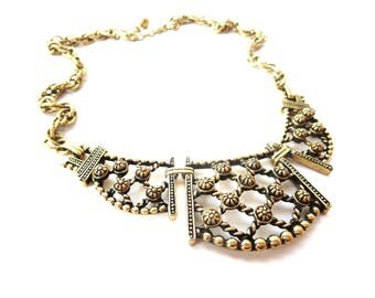 Vintage Gold Tone Metal & Black Detailing 3 Piece Twisting Rope Lattice Unmarked Extendable Choker / Collar Chain Necklace