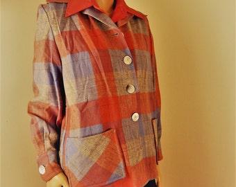 all wool, pendleton brand, plaid wool coat, 1950s vintage coat, rockabilly