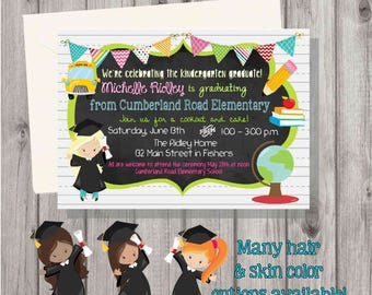 Digital Preschool or Kindergarten Graduation Girl Open House Party Invitation Printable Many Skin & Hair Color Options!