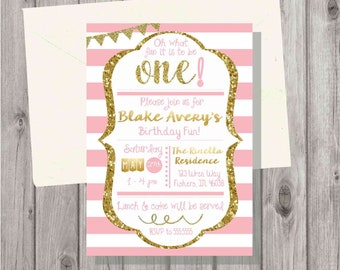 Digital Chalkboard Pink and Gold First Birthday Baby Girl Birthday or Shower Invitation Personalized Printable