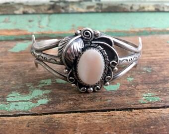 Vintage Benson Yazzie Navajo cuff bracelet Sterling Mother of Pearl Leaves