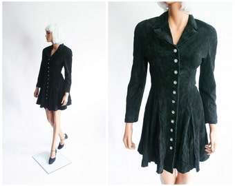 North Beach Leather Mini Dress Suede Michael Hoban Black Pleated Fitted 90s Party Dress 1990s Super Model Jacket 80s Coat Extra Small