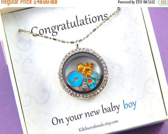 Christmas Sale Baby Boy Silver Floating Charm  Locket, Silver Necklace, Charm Necklace Story Locket