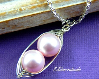 Christmas Sale Peas in a Pod, Two Peas In A Pod Necklace,  Pink Swarovski Pearls