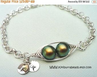 Mothers Day Sale Two Peas In A Pod Bracelet,Green Peas In A Pod Bracelet,Initial Bracelet,Pea Pod Jewelry