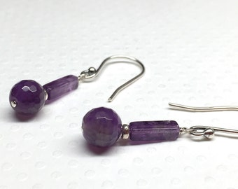 Amethyst Earrings, Purple Earrings, Purple Amethyst Earrings, Purple Dangle Earrings