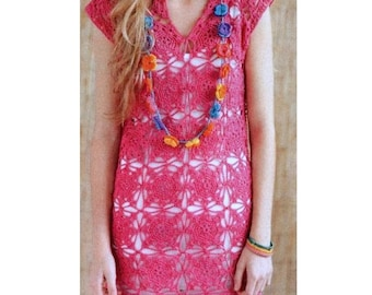 Vintage Crochet Pattern  Motif Tunic Top Dress  Beach Cover Up  INSTANT DOWNLOAD PDF Granny Squares