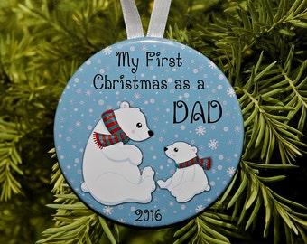 First Christmas As A Dad Ornament - Polar Bears - C156 Daddy New Dad