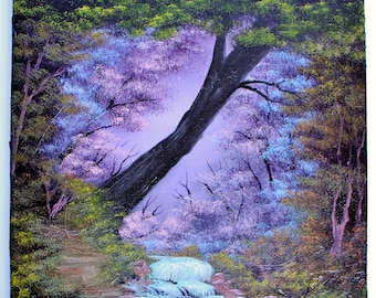 Bob Ross STYLE Oil Painting Enchanted Purple Forest Tree Wilderness 12 x 12 Square Canvas