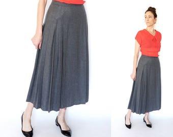 vintage PENDLETON grey pleated MIDI skirt S-M