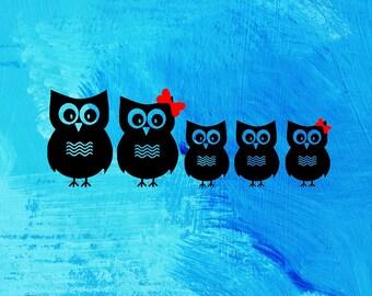 Owl Family Car Decal Etsy - Owl custom vinyl decals for car